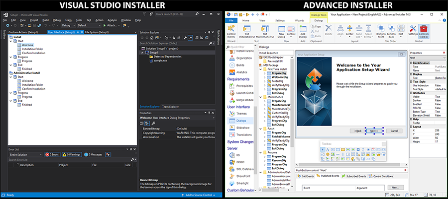 Dialog Editor Side-by-side