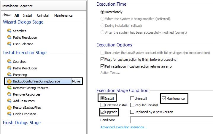 BackUp file Custom Action settings