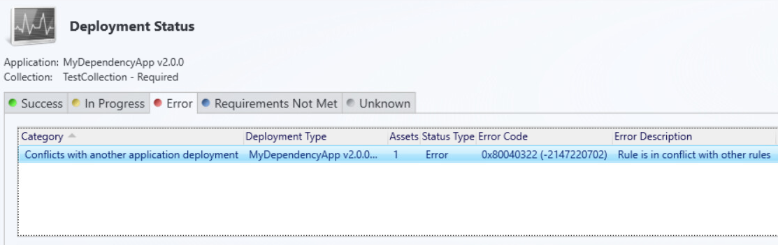 SCCM Error 0x80040322 - Rule is in conflict with other rules