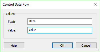 Control Data Row Dialog