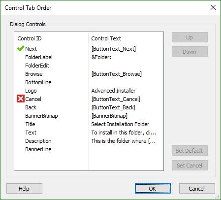 Control Tab Order Dialog