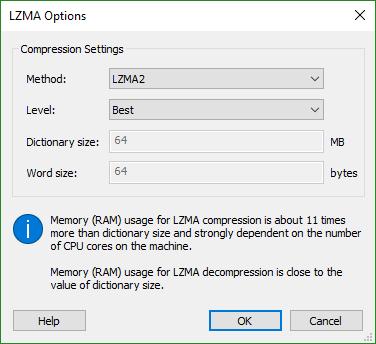 LZMA Settings Dialog