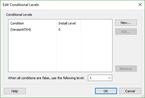 Conditional Levels Dialog
