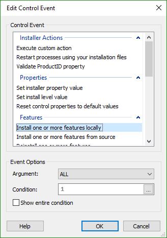 Edit Control Event Dialog