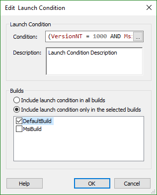 Edit Launch Condition Dialog