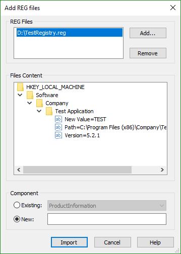 Add REG Files Dialog
