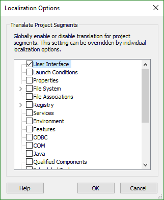 The Localization Options Dialog
