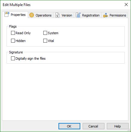 Multiple Files Properties Dialog