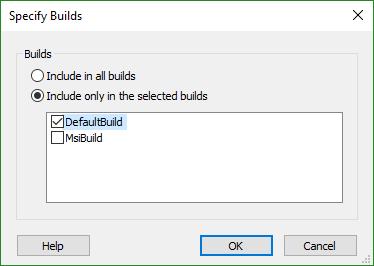 Specify builds dialog