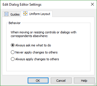 Layout Behavior Settings