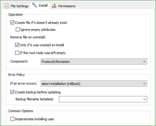 XML File Install Tab