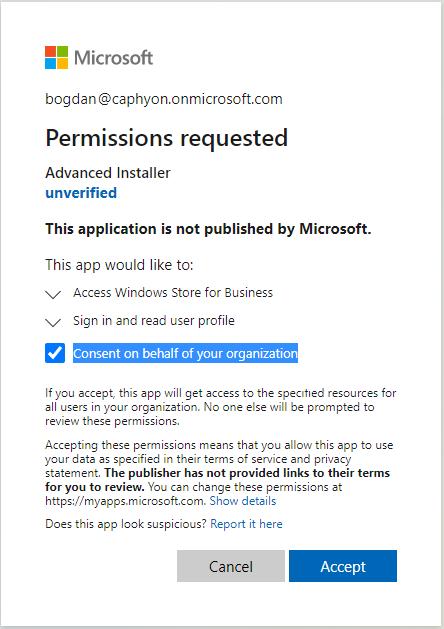 Azure Portal Permissions Requested Dialog