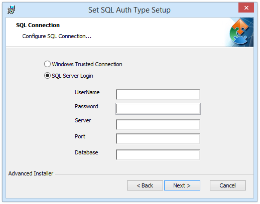 How to set the authorization type of an SQL connection?