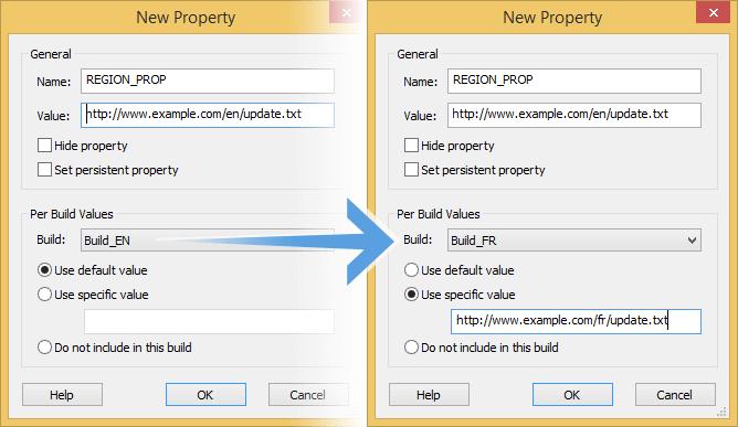 Set property per build