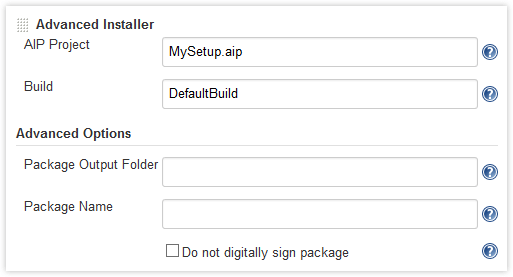 Advanced Installer job options in Jenkins