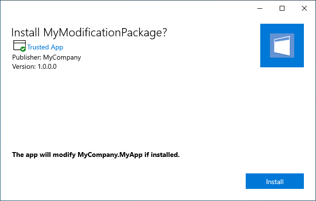 App Installer GUI displayed when trying to install an MSIX Modification Package