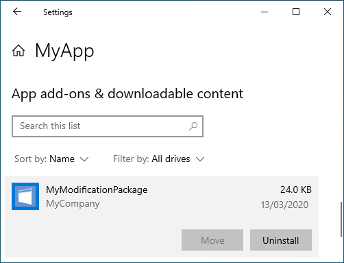 List of MSIX Modification Packages installed on the device for a specific application