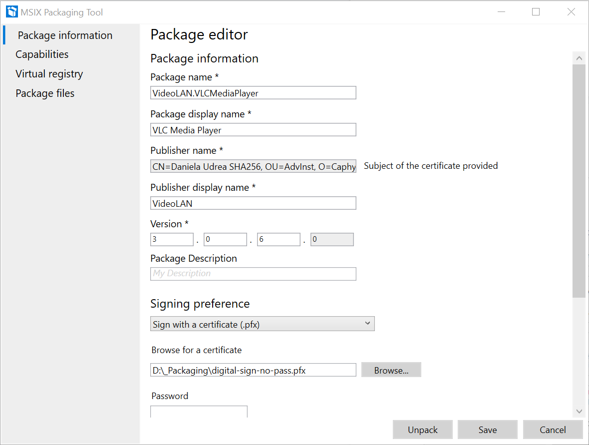 Package Editor