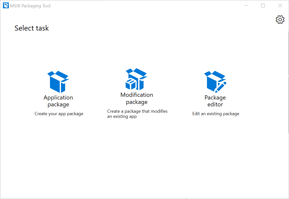 MSIX - Packaging Tool Select Task