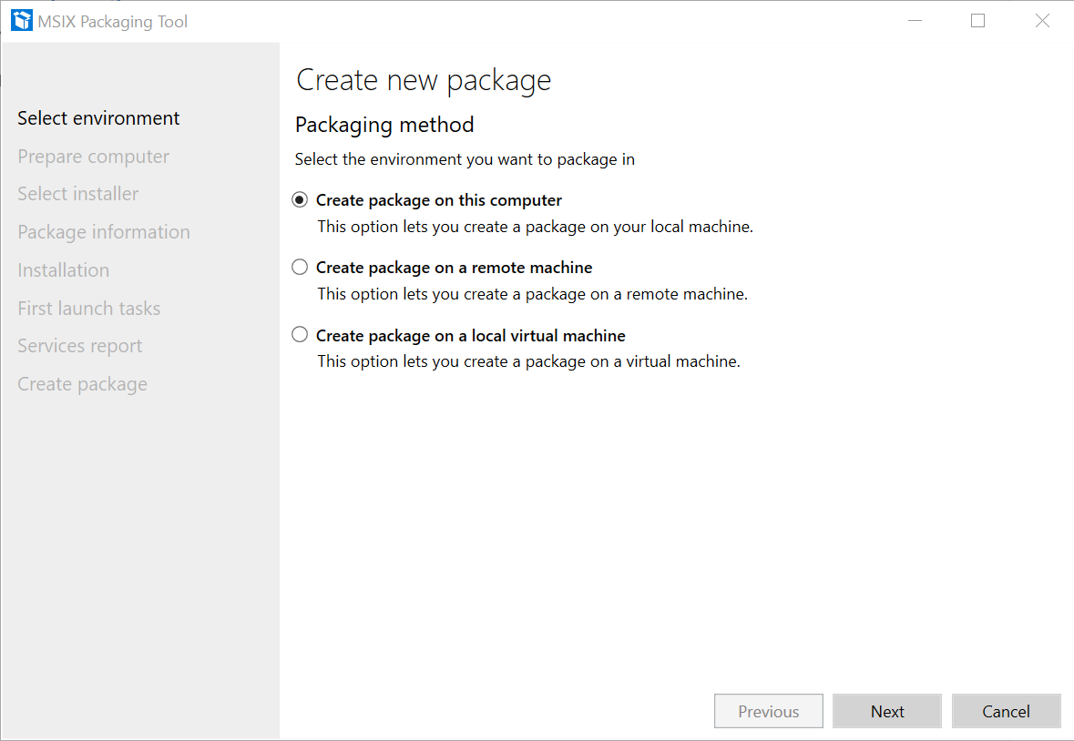 Application Package Select Environment