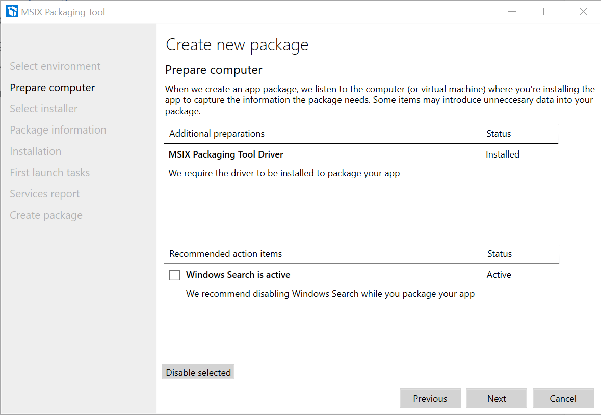 Application Package Prepare Computer