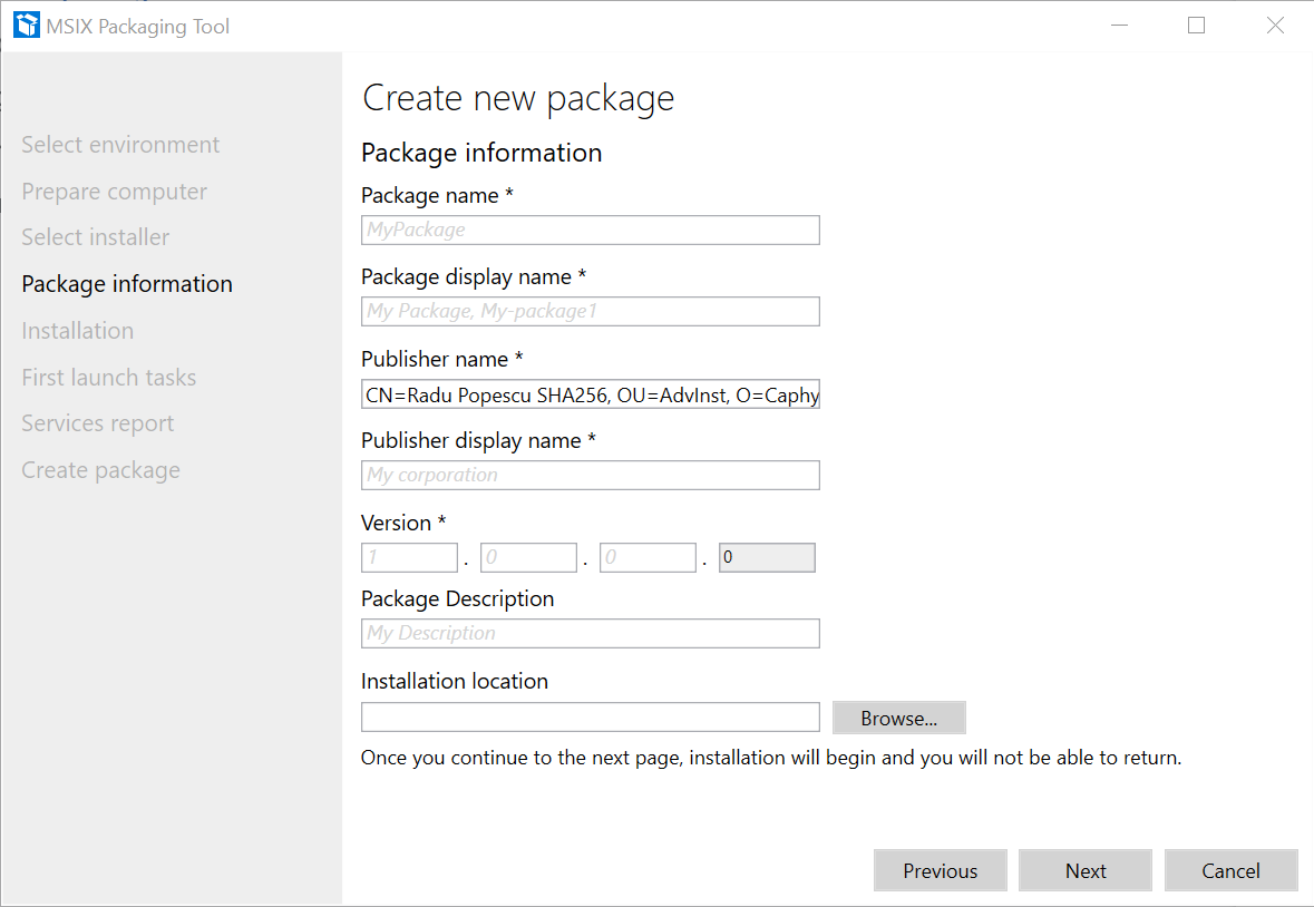 Application Package Package Information