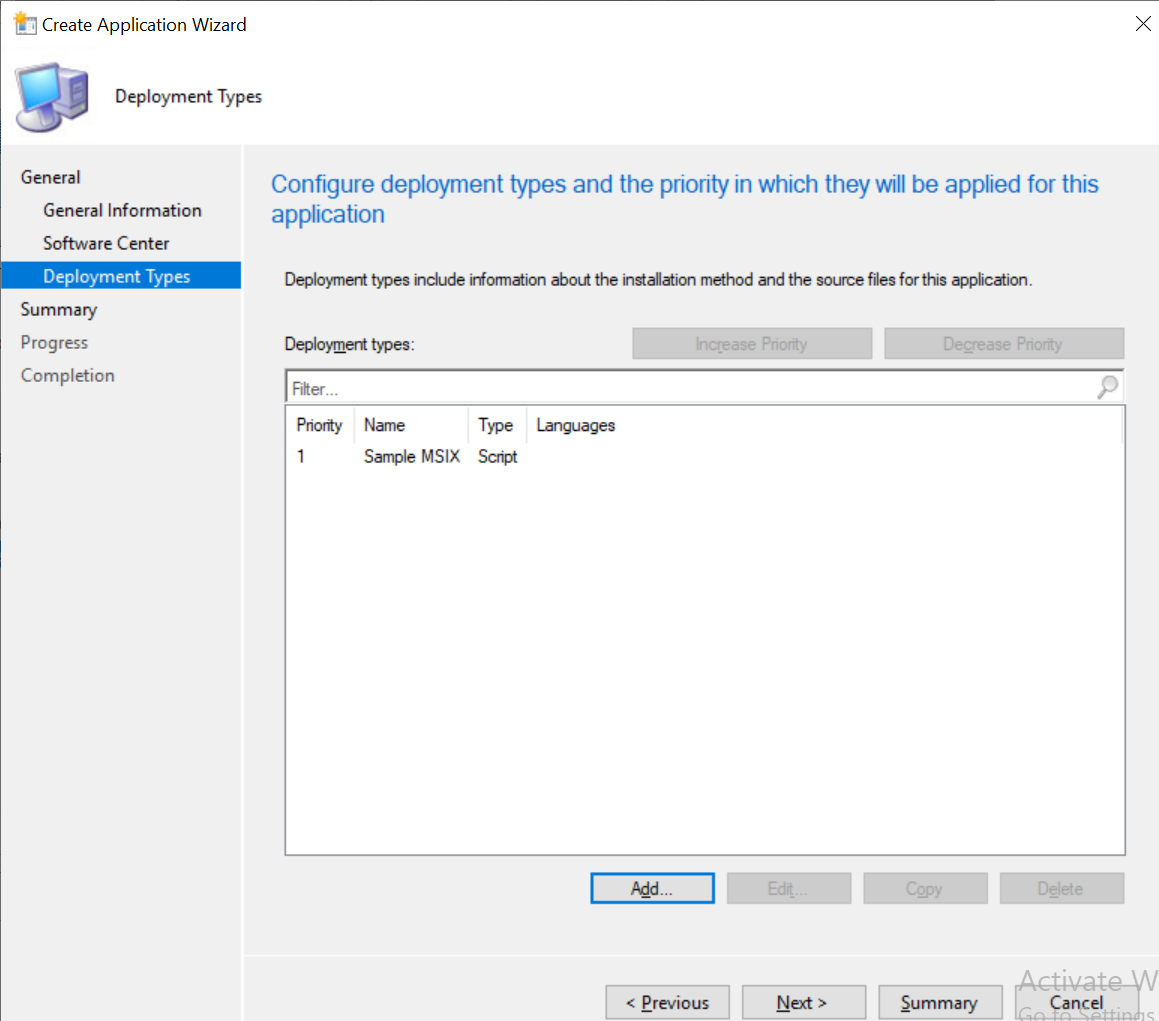 Configure deployment type and priority for the applications