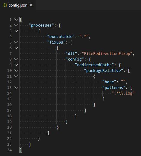 A sample configuration JSON file