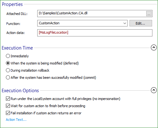 How to integrate and debug custom actions