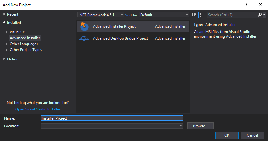 Add Advanced Installer Project