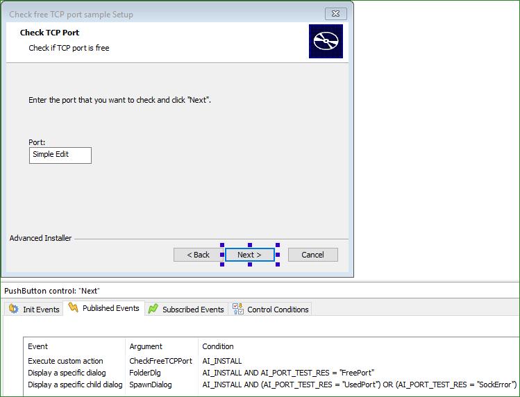 CheckFreeTCPPort dialog next button events