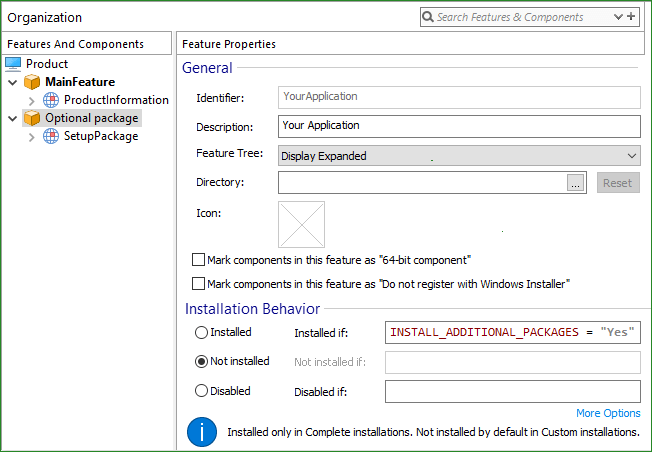How to conditionally install a prerequisite based on the user selection?