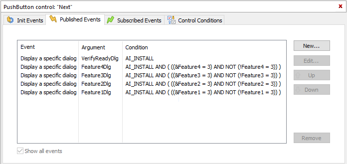 Browse button events example