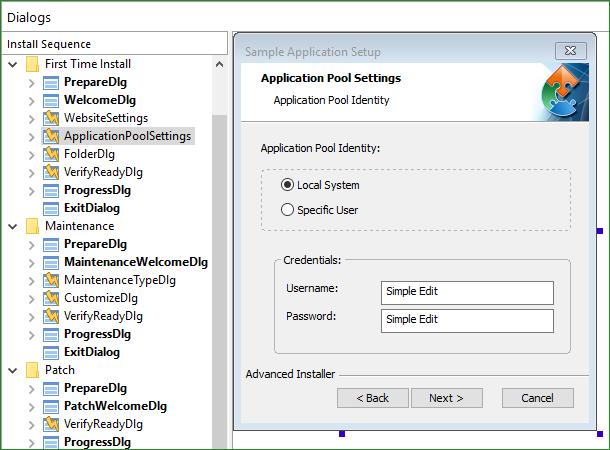 Application Pool Settings Dialog