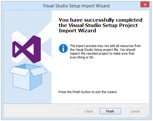 Import Visual Studio Setup project