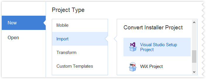 "Start a ""Visual Studio Setup Project"" project type"