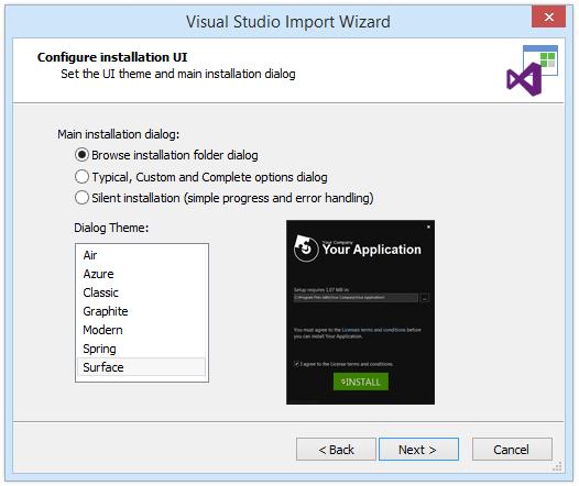 Configure installation UI