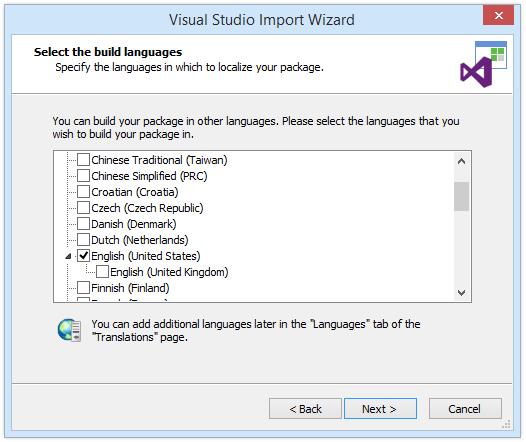 Select build languages