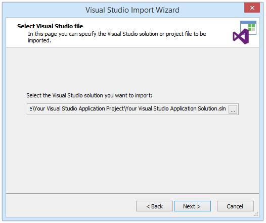 Select Visual Studio file