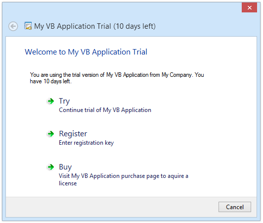Trial messages on Windows Vista or above