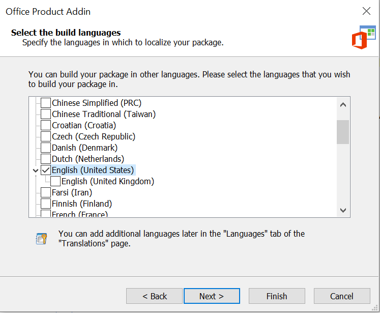 Office Add-In Languages