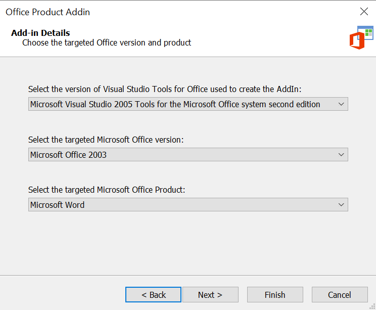 Office Add-In Targeted version