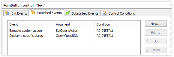 Execute custom action control event