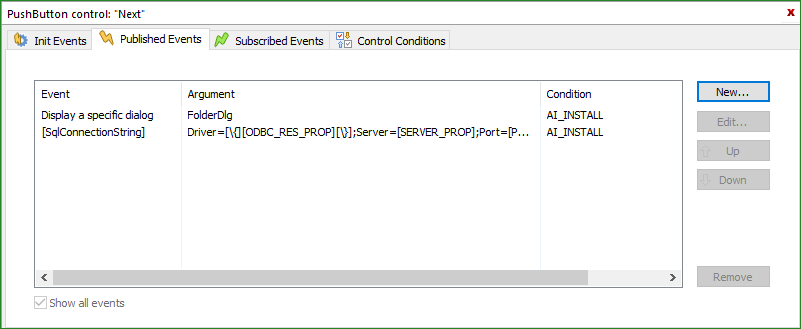 SQL Connection String control event