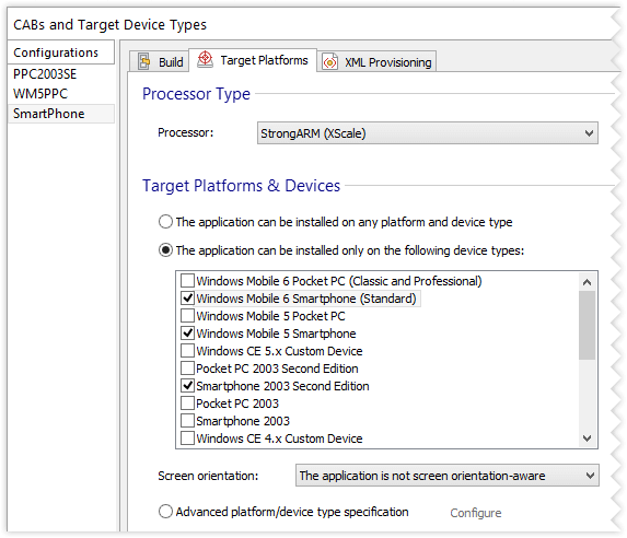 Configurations Page, Build Tab settings