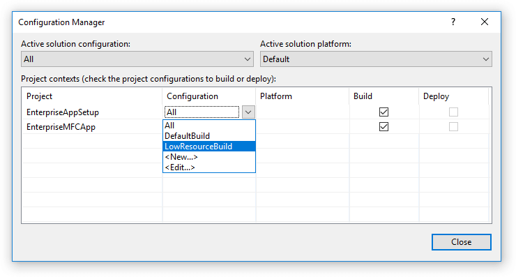 Select Advanced Installer build to use from Configuration Manager.