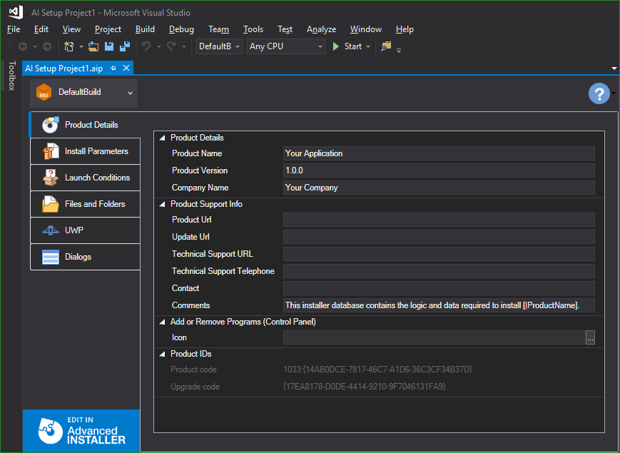 Advanced Installer extension for Visual Studio
