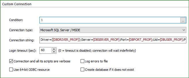 Custom SQL Connection Page