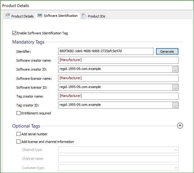 Software Identification Tab