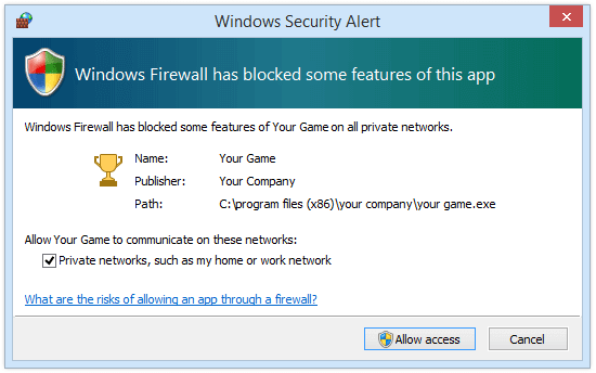 Windows Firewall Security Alert dialog